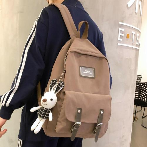Fashion Buckle Cotton Fabric Backpack Cute Women Kawaii School Bag Student Girl Backpack Harajuku Female Luxury Bags Book Ladies