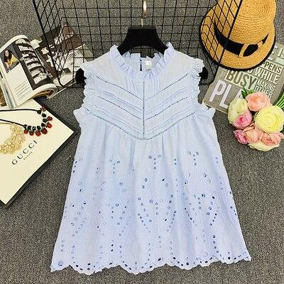Sleeveless Lace Hollow Out Blouse O Neck Ruffles Women Blouses Shirts Spring Summer Sweet Tops Blouse Female