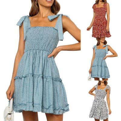 Women Summer Dress Sundress Polka Dot Print Bow-Knot Strap Sleeveless Casual Sweet Lady Mini Dress Summer Ruffle Femme Robe D30