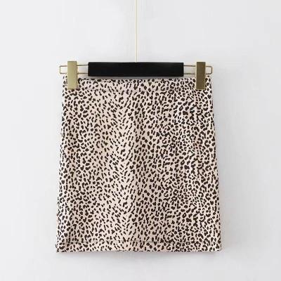 Leopard print mini skirts womens autumn winter knitted high waist skirt chic streetwear bodyon elastic skirt faldas