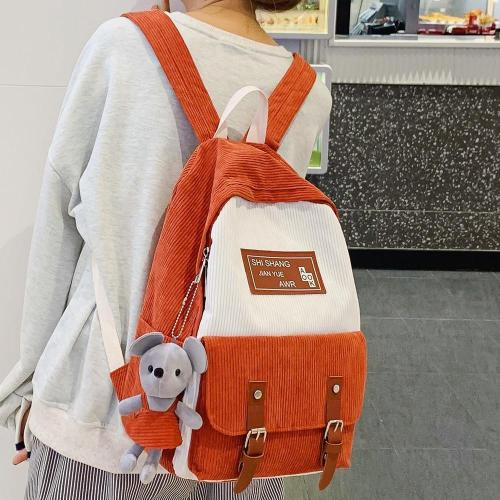 Stripe Female Corduroy Backpack kawaii Women School Bag Girl Luxury Cute Backpack Harajuku Fashion Lady Bag Student Doll pendant