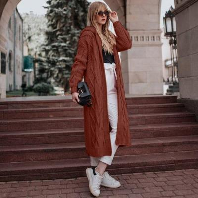 Winter Clothes Women Causal Solid Open Stitch Long Female Sweater Knitted Cardigans Oversized Loose Hooded Thick Outwear new