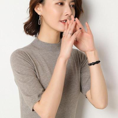 shirt women short sleeves knitting pullover pullover soft spring sweater solid short tops sexy half turtleneck slim knitwear