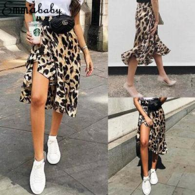Sexy Women Casual Split Skirt Leopard Print High Waist Party Fashion 2020 New Arrival Hot Selling