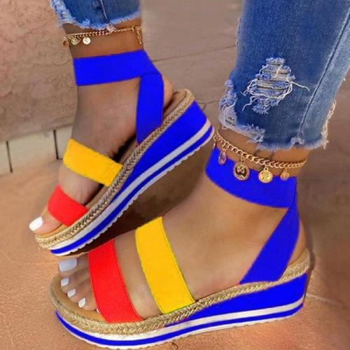 Sandals Women Wedges Platform Candy Color Ladies Hemp Shoes Ladies Summer Casual Slip On Strap Cross Cool Girls New
