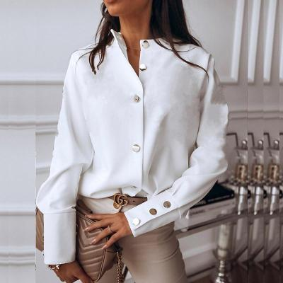 Elegant White Blouse Shirt Women's Long Sleeve Buttton Fashion Woman Blouses 2020 Womens Tops and Blouses Solid Spring Tops
