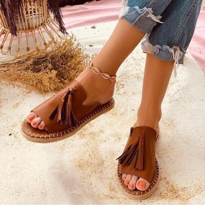 Summer Women Designer Slippers Tassel Open Toe Loafers Slipper Indoor And Outdoor Beach Ladies Shoes