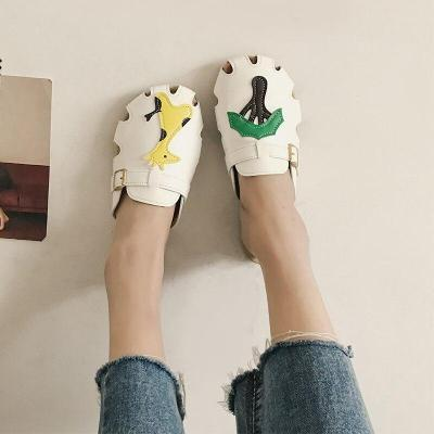Women Summer PU Leather Slippers Ladies Cute Animal Breathable Slip On Woman Shoes Female Casual comfort Beach Sandals 2020 New
