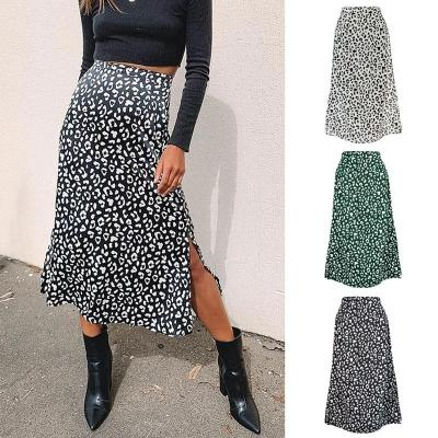 2020 New Sexy Leopard Print Chiffon Split Skirt Casual Fashion Long Skirts for Women Spring Summer Zip Elegant Female Skirt