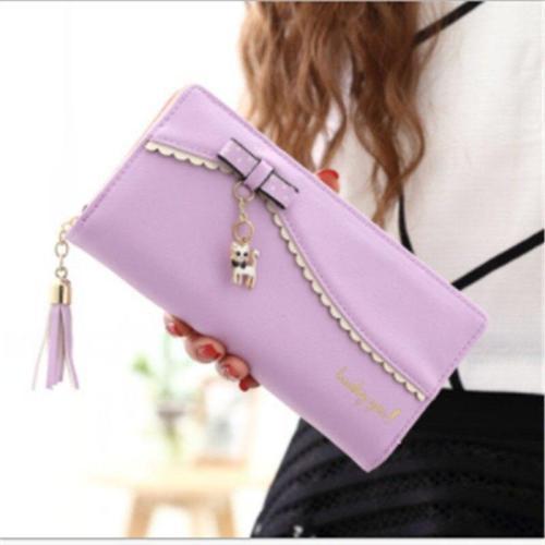 Fashion Women's Wallet New Korea Sweet Long Wallet Bow Lady Kitten Pendant Wallet Solid Card Holder Women Clutch Handbag Bag