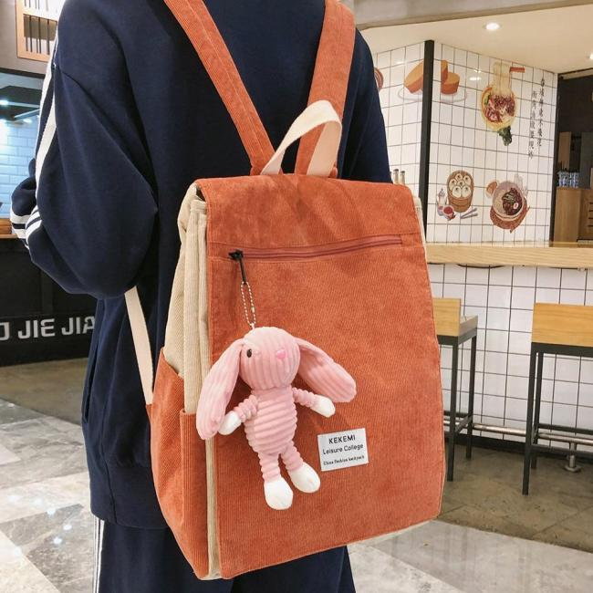 Rabbit Cute Stripe Backpack Corduroy Women School Bag Teenage Girl Harajuku Backpack kawaii Female Fashion Bag Ladies Luxury New