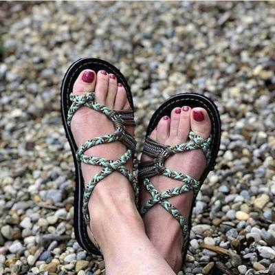 2020 Roman Summer Sandals Explosion Color Matching Rope Knot Beach Toe Sandals Women Plus Size 35-43