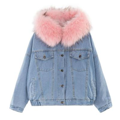 Women's Denim Jacket With Fur Winter Jeans Hooded Velvet Coat Female Faux Fur Collar 2020 Padded Warm Jackets Bomber Windbreake