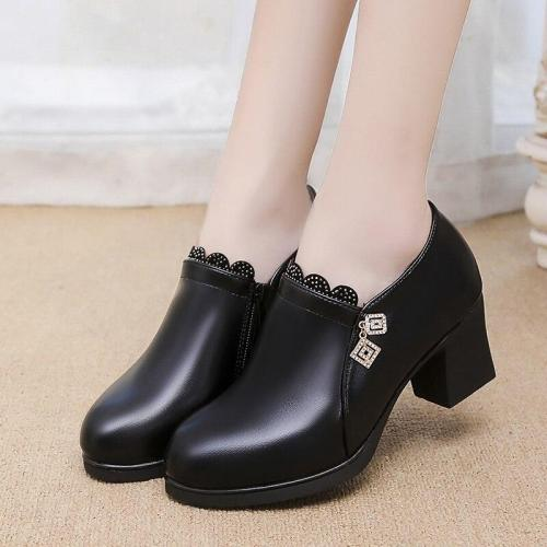 Plus Size Women Boots Lace Medium Heels Woman Bare Boots Black botas mujer 2020 Ankle Boots Crystal Ladies Shoes Botines N7738