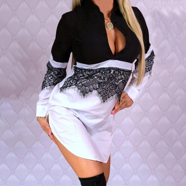 2020 Spring Women Dress Lace Patchwork Asymmetric Hem Dress Sexy Lady Mini Dress V Neck Long Sleeve Slim Dresses robe femme D30
