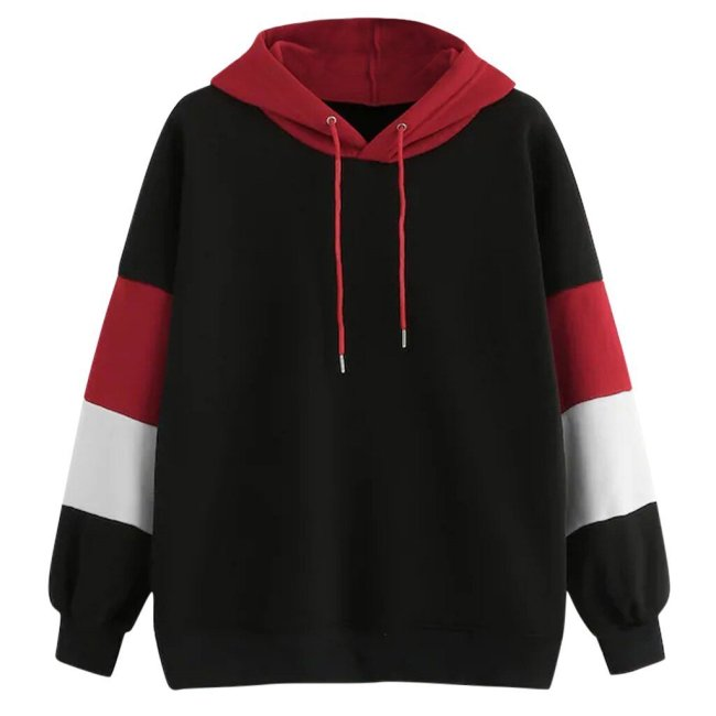Fashion Contrast Stripes Patchwork Sweatershirt Hoodie Women Casual Sport Pullover Autumn Drawstring Long Sleeve Hooded Tops #Y3