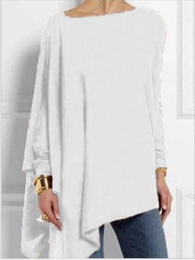 Womens Blouses Solid Color Autumn Long Sleeve Irregular Loose Ladies Tops Comfortable Girl Elegant Shirt