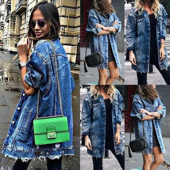 Women's Basic Coat Holes Baggy Denim Jacket Long Sleeve Loose Street Style Outwear Winter NEW