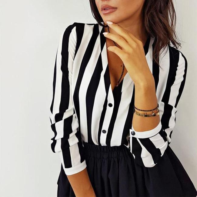 2020 New Blouse Women Casual Striped Top Shirts Blouses Female Loose Blusas Autumn Fall Casual Ladies Office Blouses Top Sexy