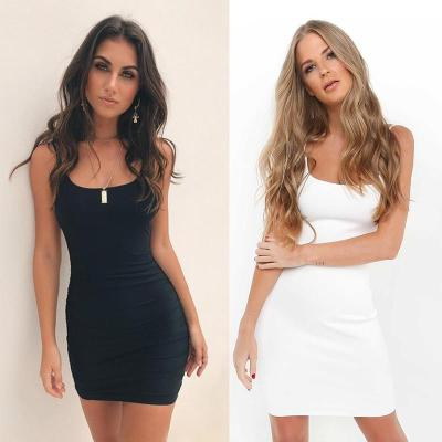 CDJLFH Womens Dresses New Arrival 2020 Sleeveless Bodycon Backless Solid Color Dress Loose Slim Commuter Casual Strapless Dress
