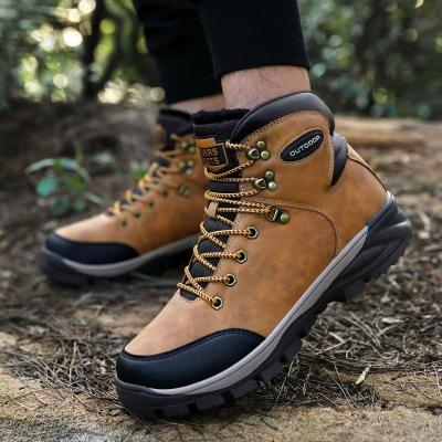 Men Boots Fashion Suede Leather Men's Snow Boots Winter Warm Plush Shoes Ankle Boots Outdoor Hiking Footwear Size 40-47