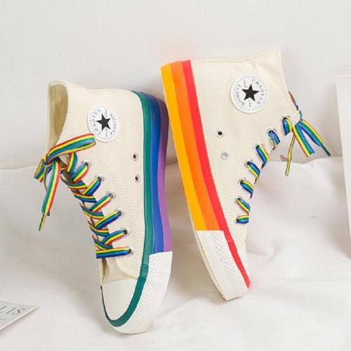 SWYIVY Rainbow Bottom Casual Shoes Woman High Top Sneakers Cavans 2020 Spring Female Casual Shoes White Canvas Sneakers Oman