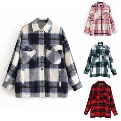 Plaid Overshirt Wool Blend Jacket Check Lapel Collar Long Sleeve Coat Women Oversized Pockets With Flaps Button Jackets Tops