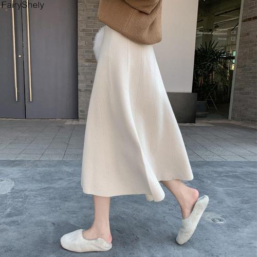 FairyShely Vintage High Waist Knitted Pleated Skirt Women 2020 Autumn Winter Casual Mid Skirt Female Korean Loose Long Skirt