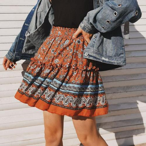 Ruffle mini skirt autumn winter women casual short skirt elegant floral print girl skirt A-line skirt female 2020