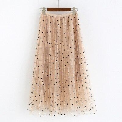 2020 New Spring Summer Ladies Polka Dot Long Skirt High Waist Casual Loose Pleated Skirt Female Elastic Waist Maxi Skirt