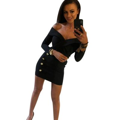 Dress Women Sexy Slash Neck Thigh Slim Mini Dress Ladies Bodycon Dress 2020 Spring New Long Sleeve Button Sheath robe femme D30