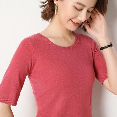 shirt women short sleeves knitting pullover pullover soft spring sweater solid short tops sexy o-neck slim outerwear