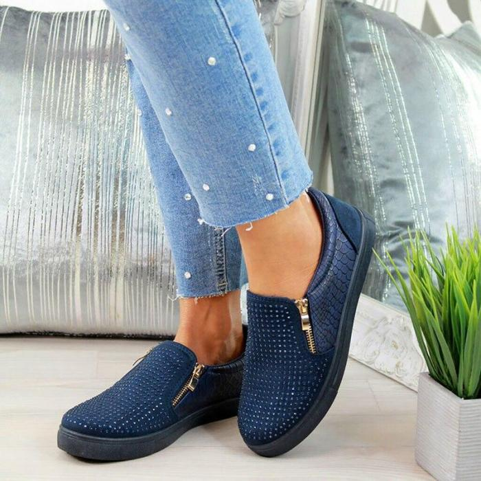 Women Flat Shoes Zipper Crystal Girls Shoes Breathable Slip On Loafers Glitter Leather Moccasins Women Casual Flat Shoes Female