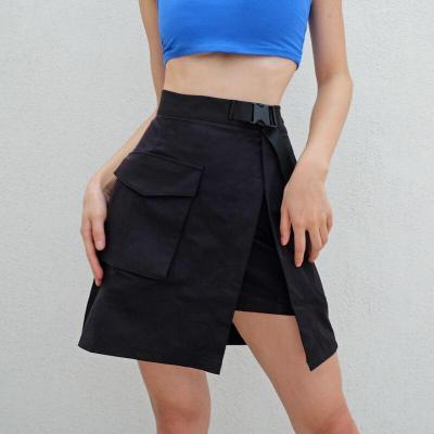 Gothic Punk Mini Skirts Buckle Streetwear Sexy Short Skirts Plus Size Clubwear High Waist Big Pocket Split Harajuku Summer Skirt