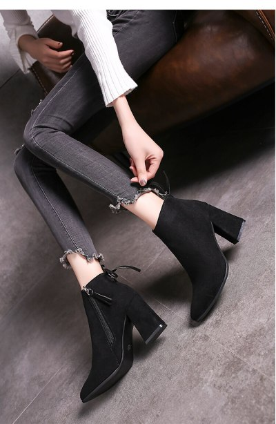 Plus Size 41 Winter Woman Boots High Heels Ankle Boots For Women Botines Flock Bare Boots Side Zip Ladies Shoes botas mujer 7742