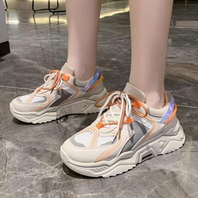 Platform Sneakers 2020 New Autumn Yellow Wedge Sneakers   Shoes Woman Chunky Dad Shoes Zapatos De Mujer