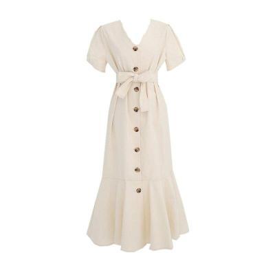 Elegant Dress Long Woman Dress Cute Short Sleeve Korean Japan Dresses for women Style Clothes Date Wear Button Lady Dress