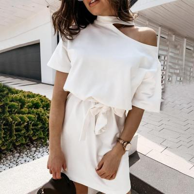 Solid Off-Shoulder Women's Summer Dress For Office Lady Short Sleeve Casual Dresses For Women 2020 Elastic waist robe femme D30