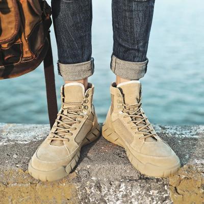 Autumn Winter Men's Casual Boots Classic Fashion Cow Suede Ankle Boots For Men Vintage Snow Boots Work Shoes Plus Velvet Warm