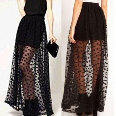 2020 Summer Women Casual Mesh Patchwork See Through Polka Dot Gauze Long Elastic Waist Sexy Fashion Black Skirt