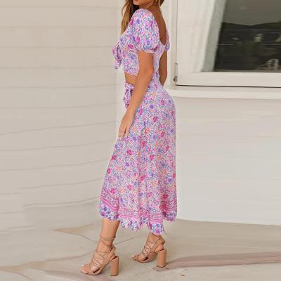 2020 Elegant Women Summer Long Skirt Set Bohemian Style Sexy Hollow Out Crop Top Skirt Floral Print V-Neck Women Beach Dress D30