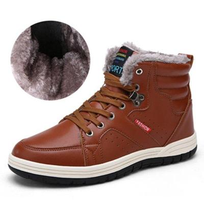UPUPER New Winter Boots Men Waterproof Anti-Skidding Leather Boots Men Casual Fashion Warm Men Snow Ankle Boots With Plush 39-48