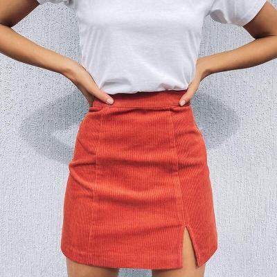 Woman corduroy skirt summer sexy mini Vintage harajuku skirts mini  slit slim high waist straight skirt ladies korean style 2020