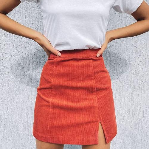 Woman corduroy skirt summer sexy mini Vintage harajuku skirts mini  slit slim high waist straight skirt ladies korean style 2020