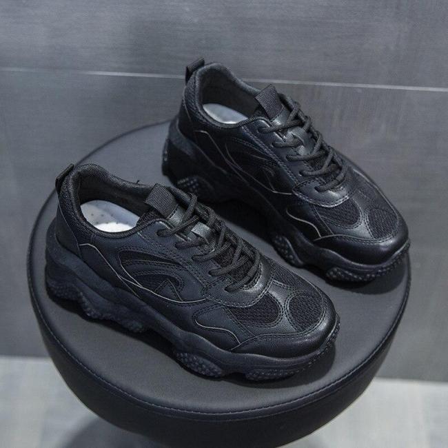 Women Chunky Sneakers White Black Platform Sneakers Mesh Breathable Casual Footwear Vulcanize Shoes Woman Zapatillas De Deporte