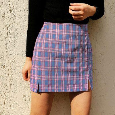 Fashion Skirt Women Summer Casual Split High Waist Lattice Print Beach Sexy Short Skirt Pencil Skirt falda cuadros 2020 New @45