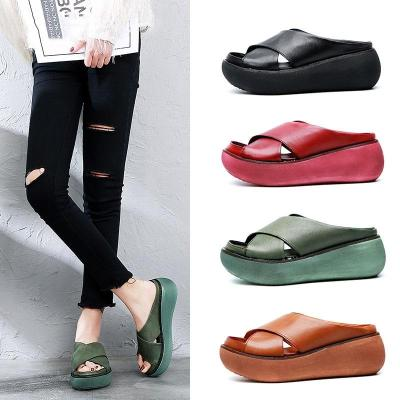 Women Sandals Soft Leather Wedges Shoes Woman Summer Sandals Beach Flip Flops New Platform Sandalias Mujer Wedge Heels Sandals