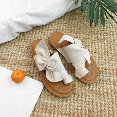 Women Summer Flock Slippers Ladies Butterfly Knot Butterfly Knot Female Sewing Open Toe Paltform Casual Woman Falt Shoes 2020