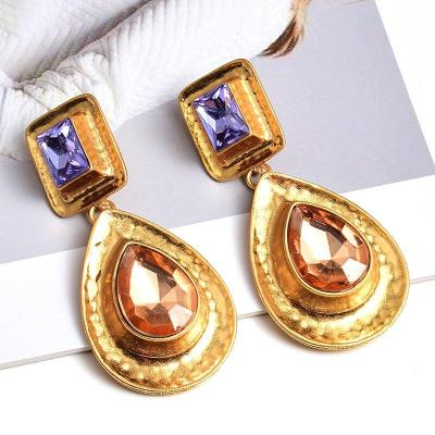 New Style Fine Rhinestone Gold Metal Dangle Drop Earrings Wholesale ZA  Fashion Trend Pendientes Jewelry Accessories For Women