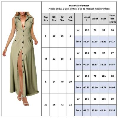 Turn-Down Collar Dress For Women Summer Sleeveless Office Work Wear Ladies Sundress Shirt Dress Pocket Female Maxi Dress D30